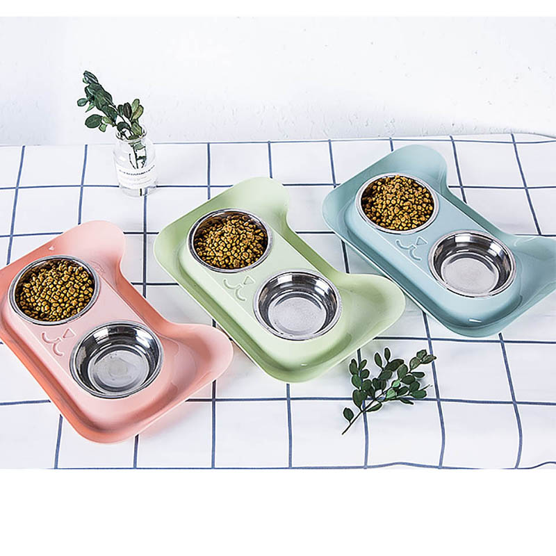 New Arrivals Double Dog Bowl  High Quality Universal Pet Feeder Teddy Food Bowl Stainless Steel Cat Dog Supplies Cat Water Bowl