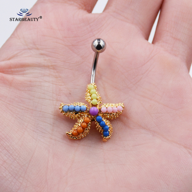 Us 1 93 49 Off Starbeauty Candy Color Starfish Navel Ring Earring Stainless Steel Belly Ring Navel Piercing Ombligo Belly Button Rings Jewelry On