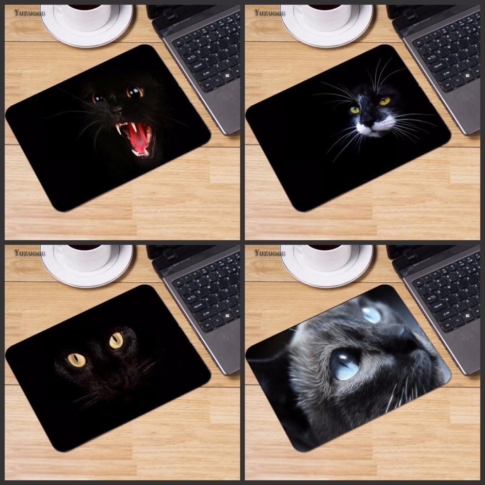Yuzuoan Customized Luxury Printing 1 PC of Black Cat Eyes Stylish Gamer Gaming Comfort Optical Laser Non Slip PC Mouse Pad