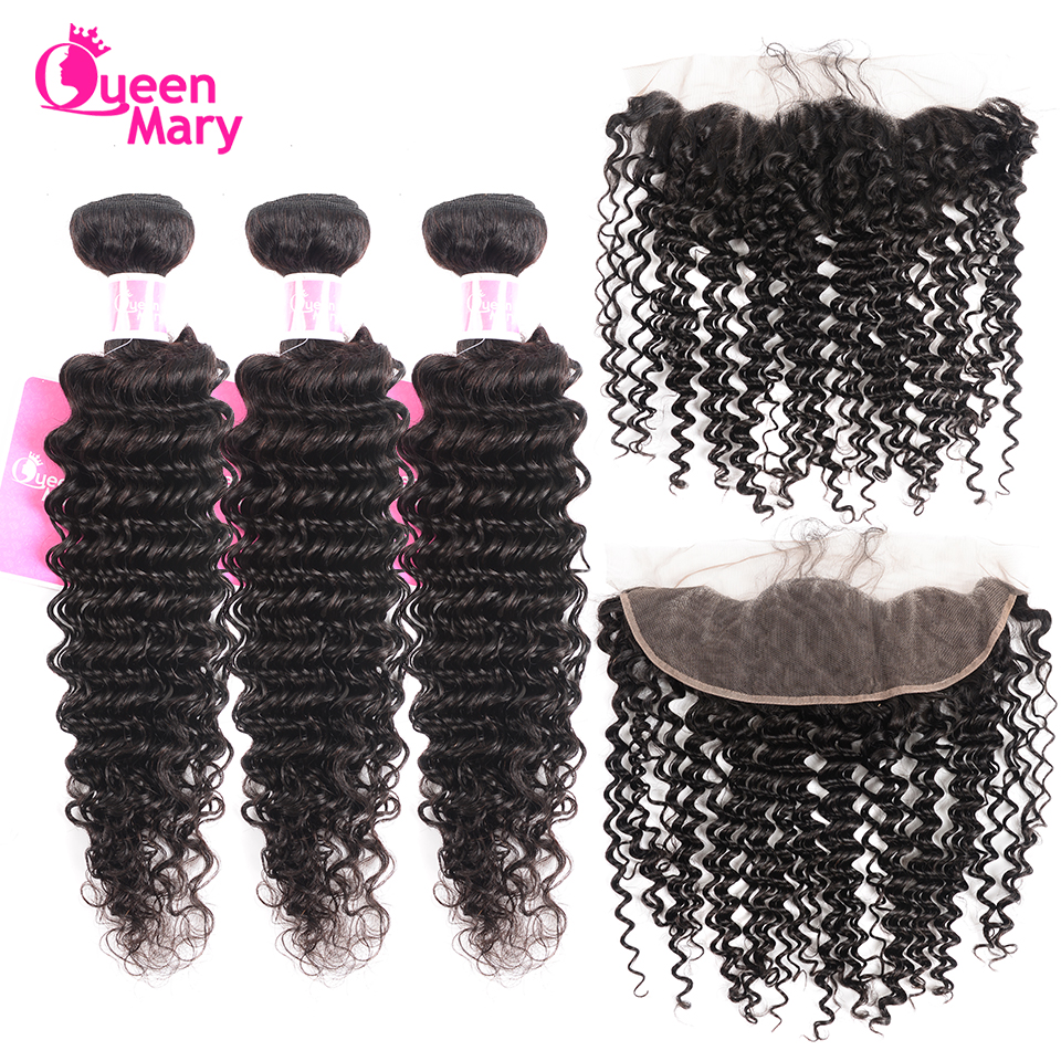 Queen Mary Hair Brazilian Deep Wave Bundles With Frontal Closure Human Hair Bundles With Frontal Closure NonRemy Hair Extensions