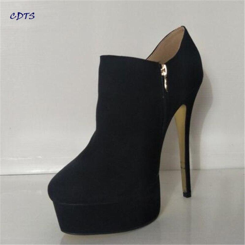 Crossdresser Plus:40-45 46 47 48 Ankle Martin boots New Style Stiletto zapatos mujer 16cm thin heels women pumps suede shoes костюм радужной клоунессы 46 48