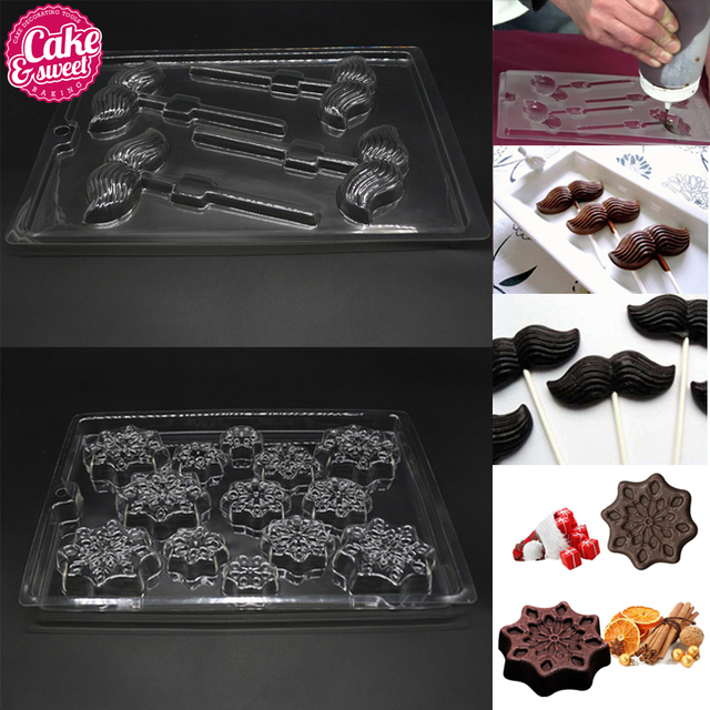 2pcs snowflake2pcs mustache chocolate mold polycarbonate christmas diy baking tray candy molds baking pastry