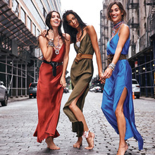 2019 Silk Long Dress Sexy V-neck Side Split Women Dress Party Night Slim Dress Elegant Sleevelss Solid Summer Slip Dress