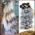 Dos tonos 1B gris onda brasileña virginal del cuerpo 2 unids lot Ombre gris pelo de la armadura barato gris plata Ombre extensiones de cabello humano