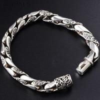 10 мм Для мужчин s браслет серебро 925 Ретро Винтаж S925 серебряная цепь ссылка браслет Для мужчин украшения для мужчин Homme bijoux