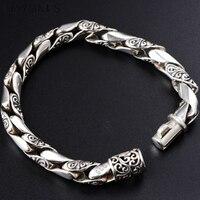 10mm Mens Bracelet 925 Silver Retro Vintage S925 Sterling Silver Link Chain Bracelet Men Male Jewelry Homme bijoux