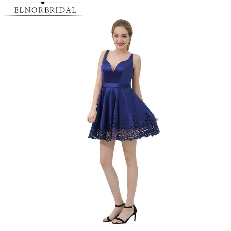 Navy   Cocktail     Dresses   Chap 2019 Backless Short Prom   Dress   Satin Vestido De Festa Curto De Luxo Special Occasion Party Gowns
