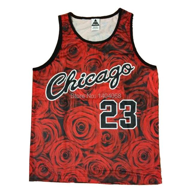 4194d6ad1554 Harajuku Summer Style Red Rose Flowers No.23 Michael Jordan Letter Printed  Mesh Couple Basketball Jersey Tank Tops For Women Men