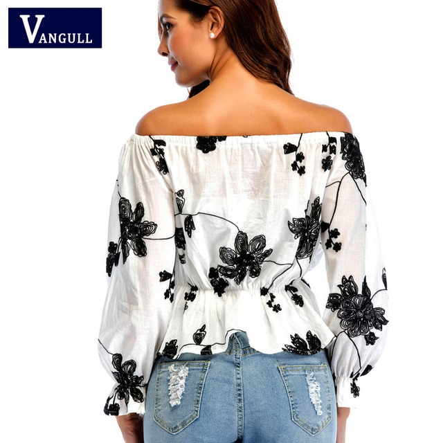 Blouses & Shirts Women Casual Slash Neck Floral Embroidery Shirts Casual Cotton Blouse Women Clothing Blusa Camisa Feminina