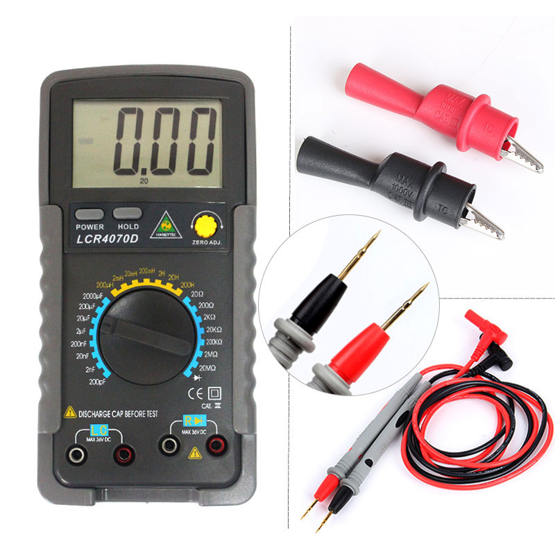 UH, mH, H, inductance and capacitance low voltage display resistance tester digital bridge multimeter LC meter 3 1 2 1999 count digital lc c l meter inductance capacitance tester mastech my6243