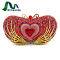 Milisente 2017 New Arrival Women Party Bags Red Luxury Crystal Clutch Wedding Clutches Heart Shape Bag Designer Handbags