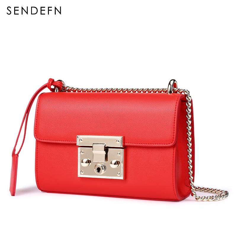 Image 5 - Sendefn 2018 nova pequena bolsa de ombro feminina luxo couro crossbody sacos feminino rosa bolsa de embreagem senhora clássico correntes aleta 6Bolsa a tiracolo   -
