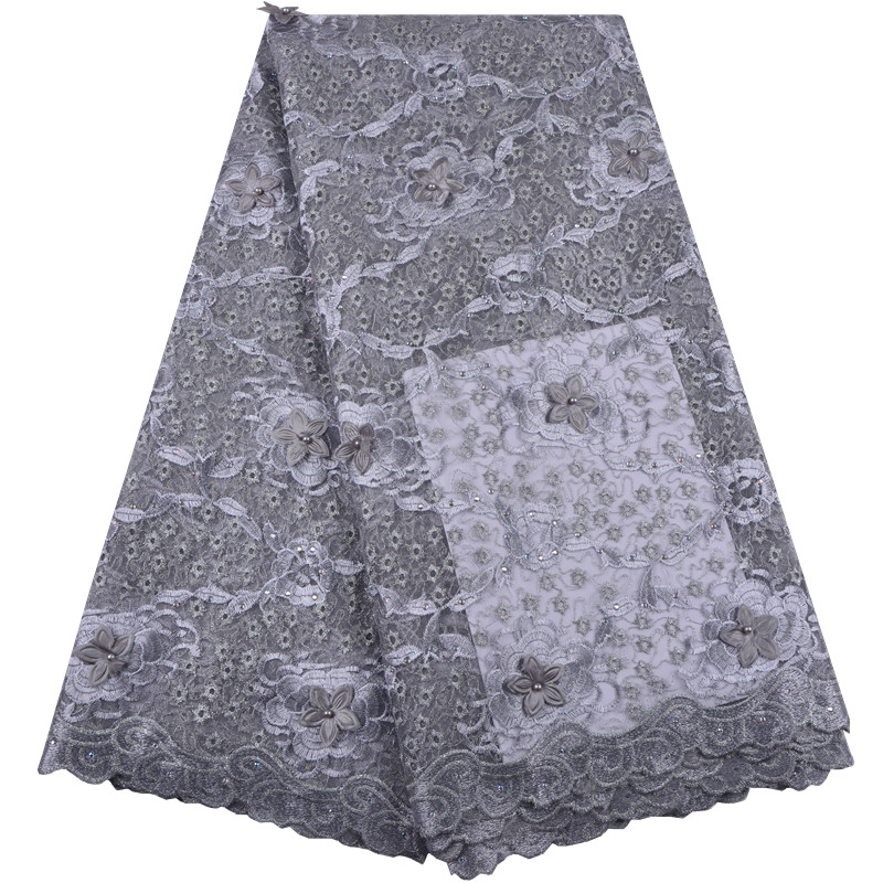 Self-Conscious 2018 Latest Grey Nigerian Laces Fabrics High Quality African Laces Fabric For Wedding Dress French Tulle Lace With Beads S1372 Home & Garden