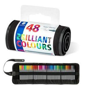 Фломастеры Staedtler 334 RU48 Triplus, фломастеры 0,3 мм, фломастеры с цветными наконечниками, гелевая ручка, рулонный набор, пакет в ассортименте 48