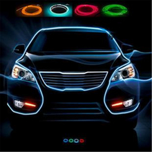 Universal 3meter 10 Colors Car Styling Flexible Neon Light EL Wire Rope Car Decoration Strip with Controller Free shipping