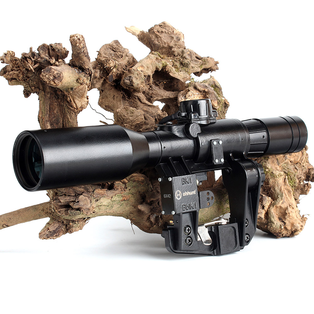 Image 3 - Hunting SVD 6X42D Riflescope Red Illuminated Glass Etched Reticle POS 1 Sight Tactical Scopees Mount Fits SKS Tigr Romak 3-in Riflescopes from Sports & Entertainment
