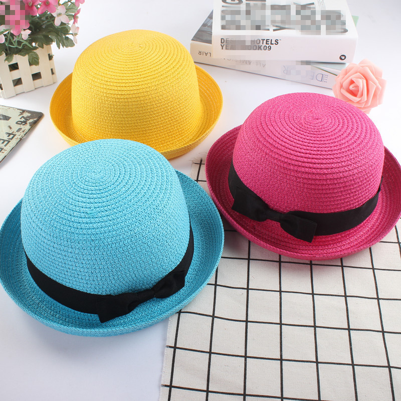 aa835cf9 Fashion parent-child Cute Bow tie sun hats Girl hand made straw wave wide  brim