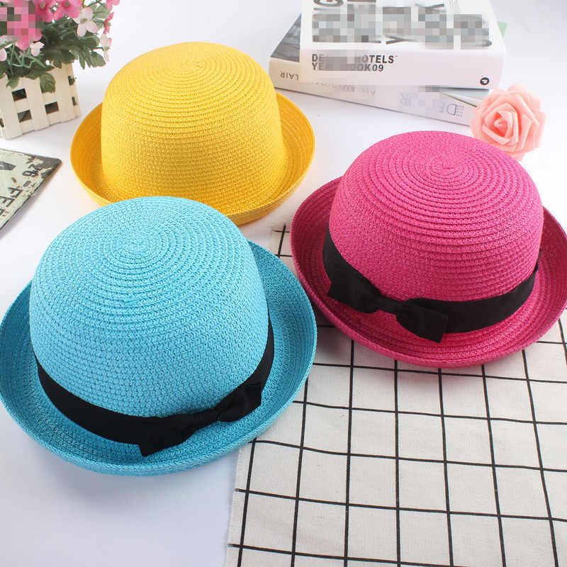 275d338cde9 Fashion parent-child Cute Bow tie sun hats Girl hand made straw wave wide  brim