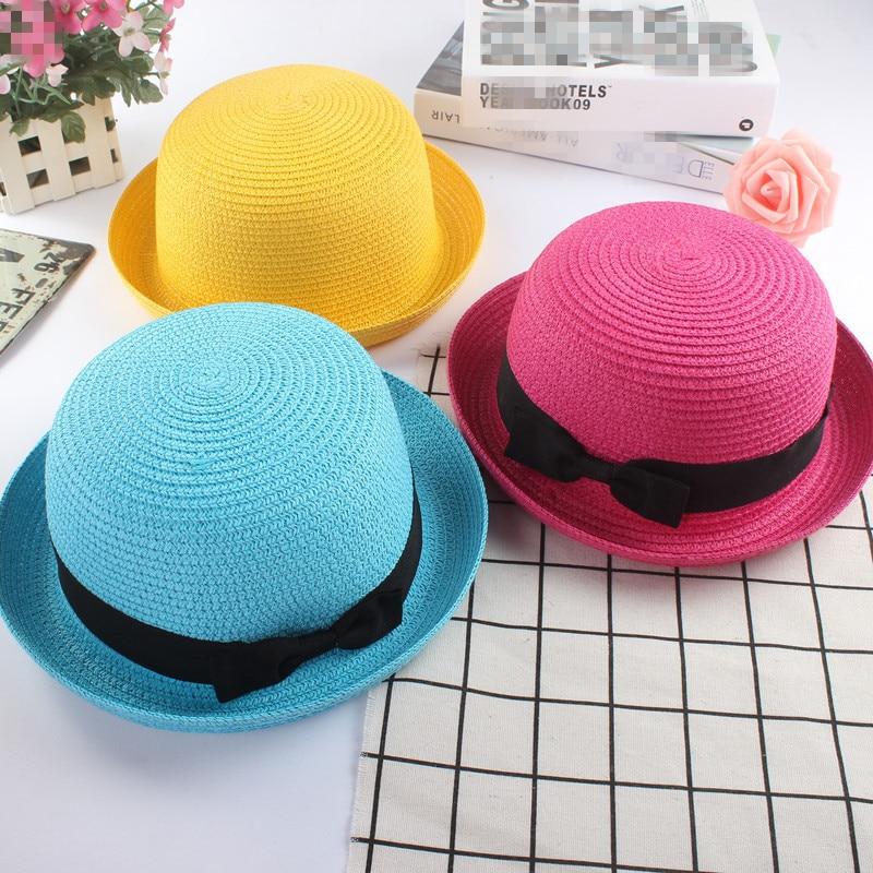Fashion Parent-child Cute Bow Tie Sun Hats Girl Hand Made Straw Wave Wide Brim Sun Hats Casual Shade Hat Summer Woman Beach Hat