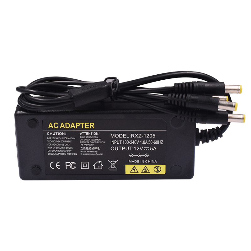 DC 12V 5A Power Supply Adapter With DC 1 To 5 Power Splitter Cable 1 Female to 5 Male LED Lamp For CCTV Cameras