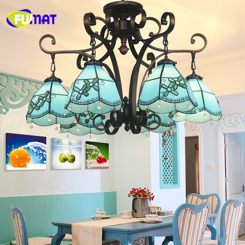 FUMAT Tiffany European Style Blue Shade Pendant Lights LED Lamp Art Stained Glass Shade Living Room Warm Glass Pendant Lights