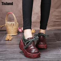 New Top Quality Women Genuine Leather Shoes Lady Elegent Autumn Thick Sole Oxfords Platform Shoes Soft