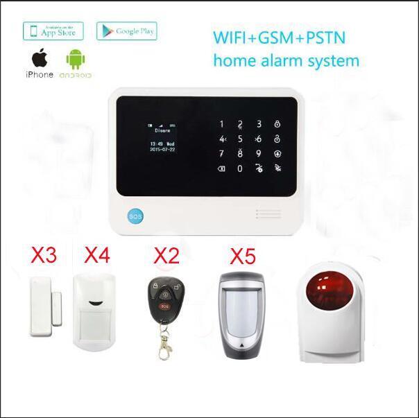 gsm  wifi  Home Security Alarm system Dual Network WiFi/GSM Burglar WIFI Digital Alarm System+Wireless outdoor PIR sensor dual network gsm burglar alarm system mobile remote control