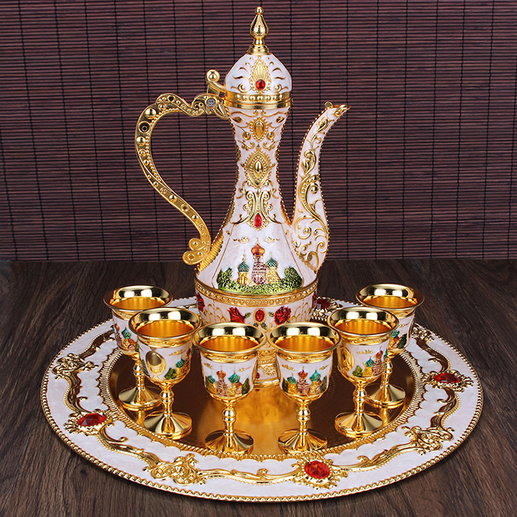 Russian Color High-grade Liquor Tin Flagon Home Furnishing Ornaments Gift Wine Glass Tea Set Men