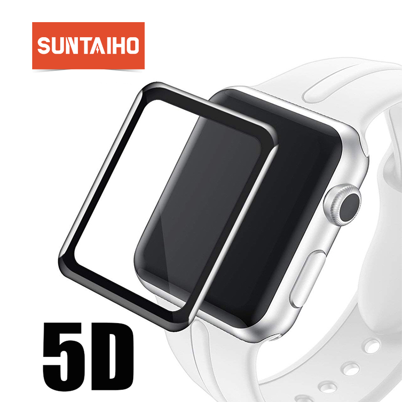 Suntaiho 5D Full Cover glass film for Apple Watch 42 38 mm Series 3 2 1Full gel Screen Protector Titanium alloy fram for i Watch fram ph6355