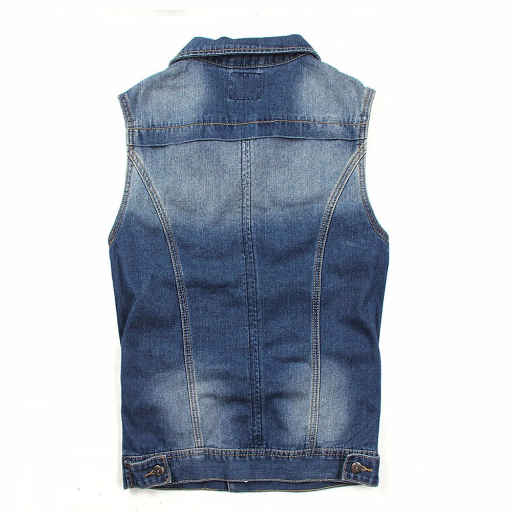 Men Vest Denim Vests Coat Male Hole Sleeveless Jean Jacket Hole Jeans Waistcoat Plus Size