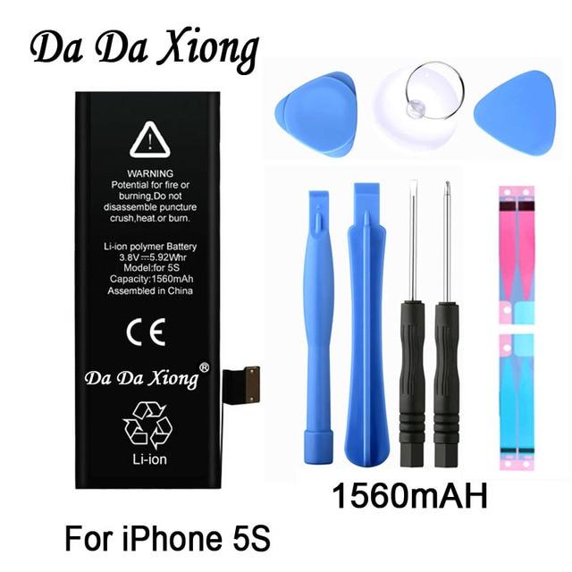 Orijinal Da Da Xiong pil iPhone 5C 5S 5GS 1560mAh gerçek kapasite makine araçları kiti ile yedek piller