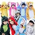 2016 Niños de Dibujos Animados en un pice Onesies Pijamas Traje Chica Chico Panda Niños Kigurumis Puntada ropa de Dormir Animal Pijama mono