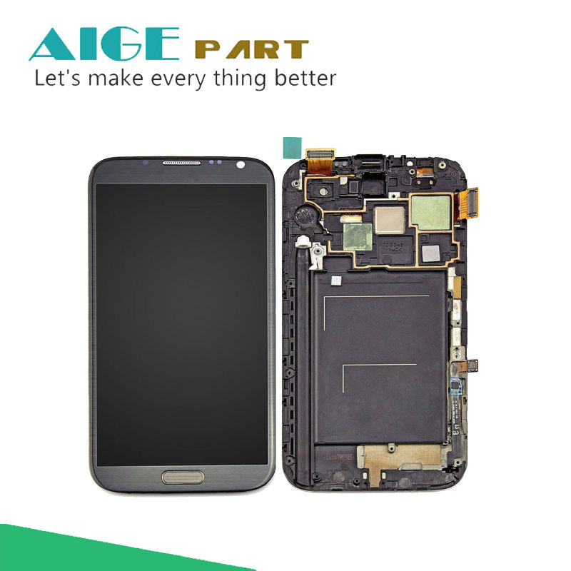 New LCD Display+Touch Screen Digitizer Assembly With Frame For Samsung Galaxy Note 2 Note2 N7100 Free Shipping 1280*720 brand new3 n7100 lcd free shipping 10pcs n7100 lcd touch sceen digitizer assembly for samsung galaxy note 2 lcd