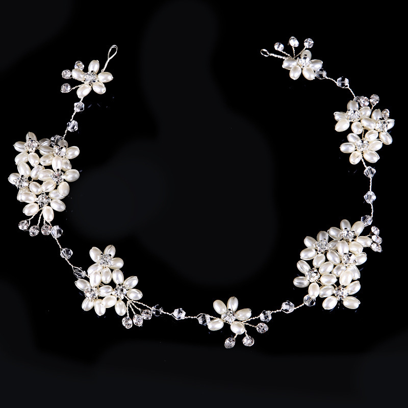 European Pearl Rhinestone Handmade Headdress Wedding Accessories Hair Band Hair Accessories Kid Hair Accessories Flower Girls