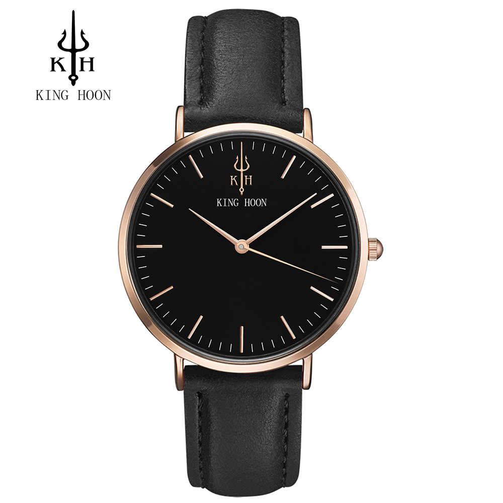 Super slim Quartz Casual Wristwatch Business KING HOON Brand Leather Analog Quartz Watch Men's Fashion 2016 relojes hombre