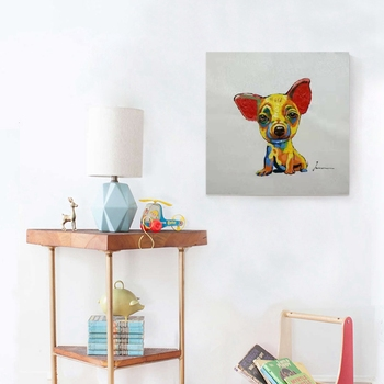 Chihuahua Cute Dog Hand Painted Oil Canvas Painting for Living Room Kitchen Wall Decor Ji Wawa Animal Artwork Home Decorations