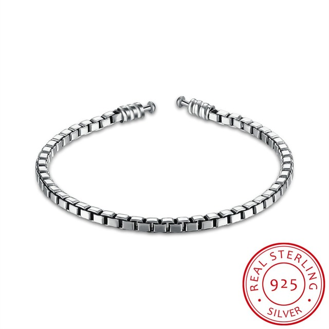 Robira Silver Bracelets Box Chain Fit Pandora DIY Jewelry 925 Sterling Silver Women's Gift Bangle and Bracelet Making