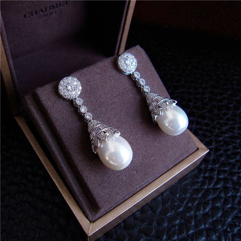 Fashion AAA cubic zirconia with shell pearl drop earrings,Womens accessaries, E6551