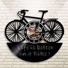 7f48272f7e9 1 peça Da Bicicleta Ciclo de Design Disco de Vinil Relógio de Parede Vida É  Melhor