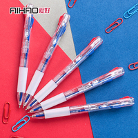 0 5mm 24pcs Half Needle Retractable Two Color Ball Point Pen School And Office Supplies Classic