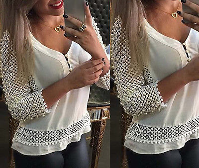 NEW Arrivals Fashion Women Chiffon Hollow Lace Crochet Long Sleeve   Shirt   Tops   Blouse     Shirts