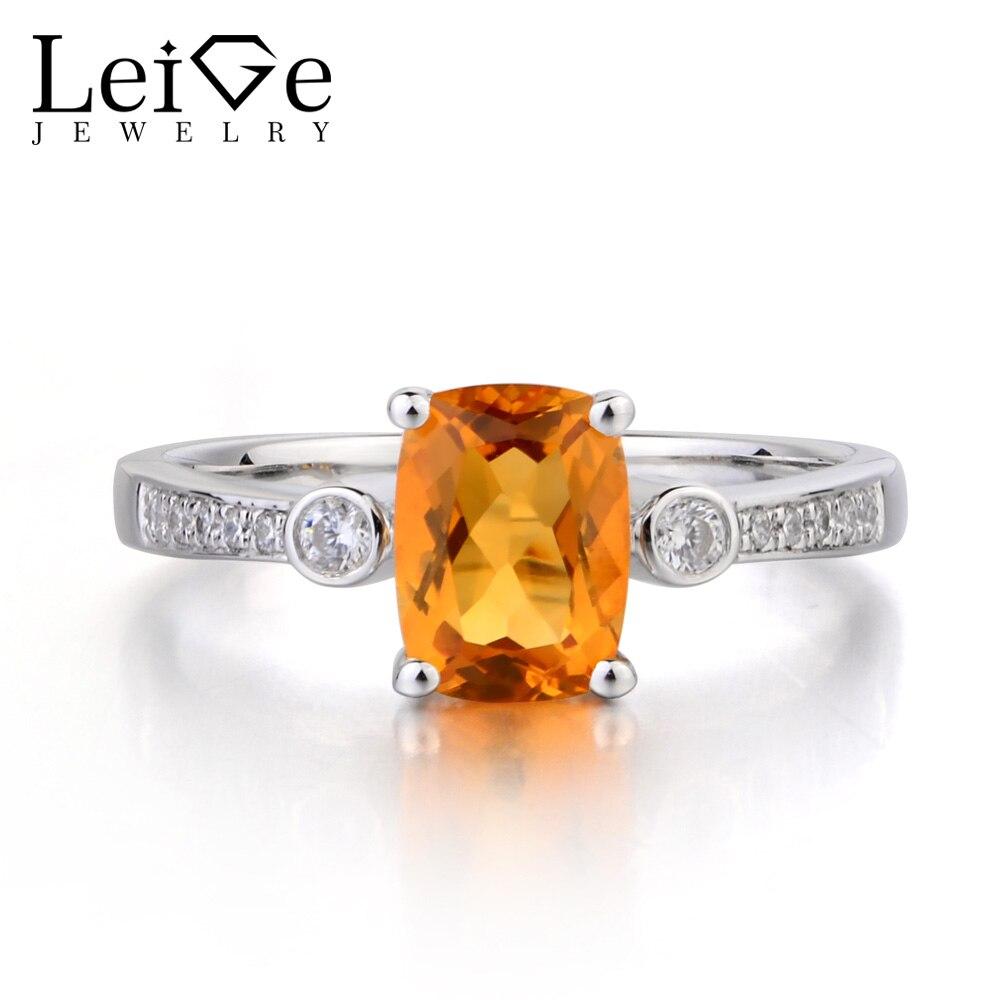 Leige Jewelry Natural Citrine Ring Cushion Cut Yellow Gemstone Birthstone Anniversary Wedding Rings 925 Sterling Silver Ring цена