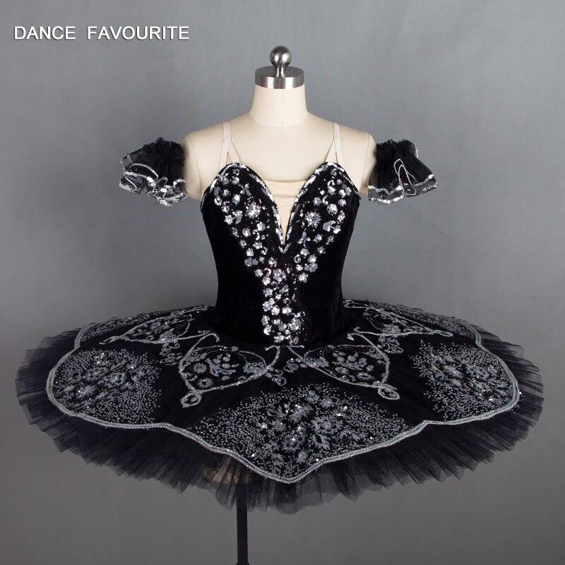 B18031 Stuning Black Color Professional Ballet Tutu Adult Classical Ballet Stage Costumes Girl Ballerina Dance Costume
