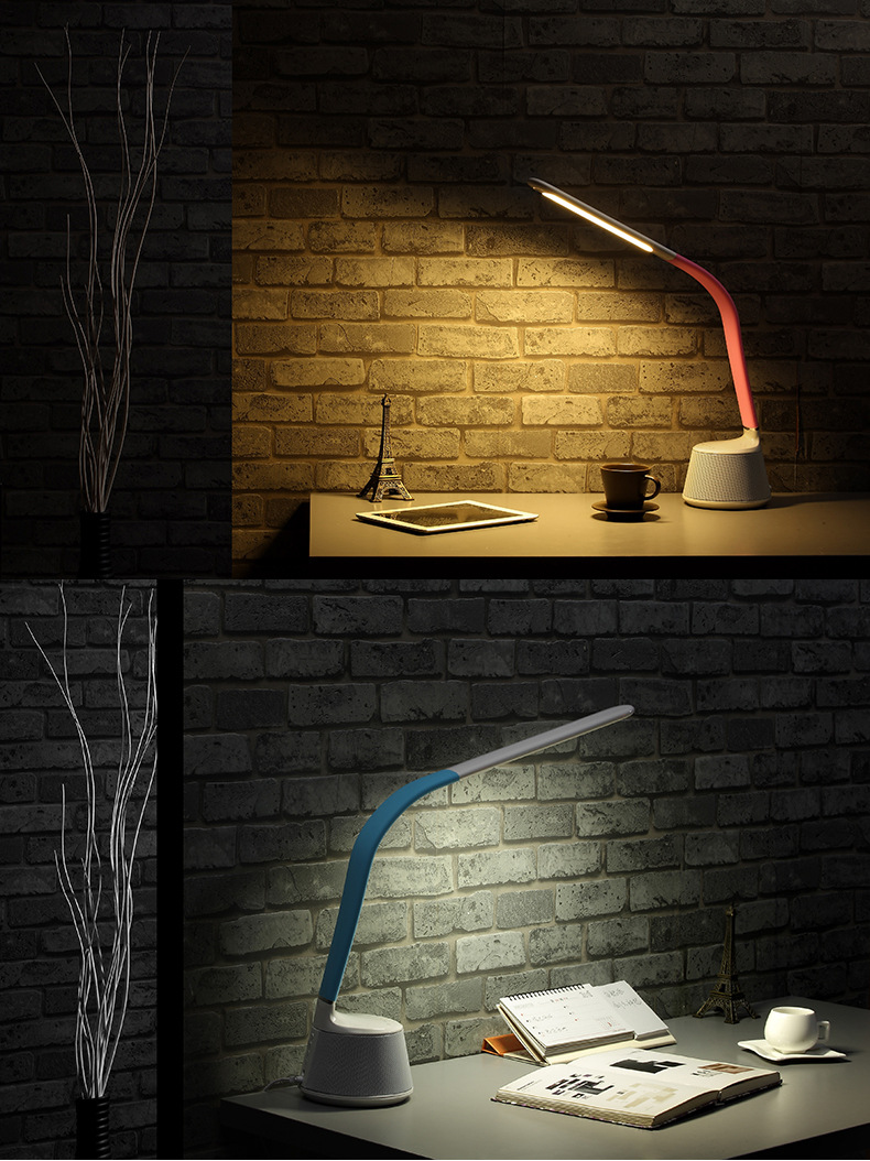 Bluetooth Speaker Touch Sensor LED Table Lamp flexibable gooseneck intelligent dimming color eye care reading light IY106108
