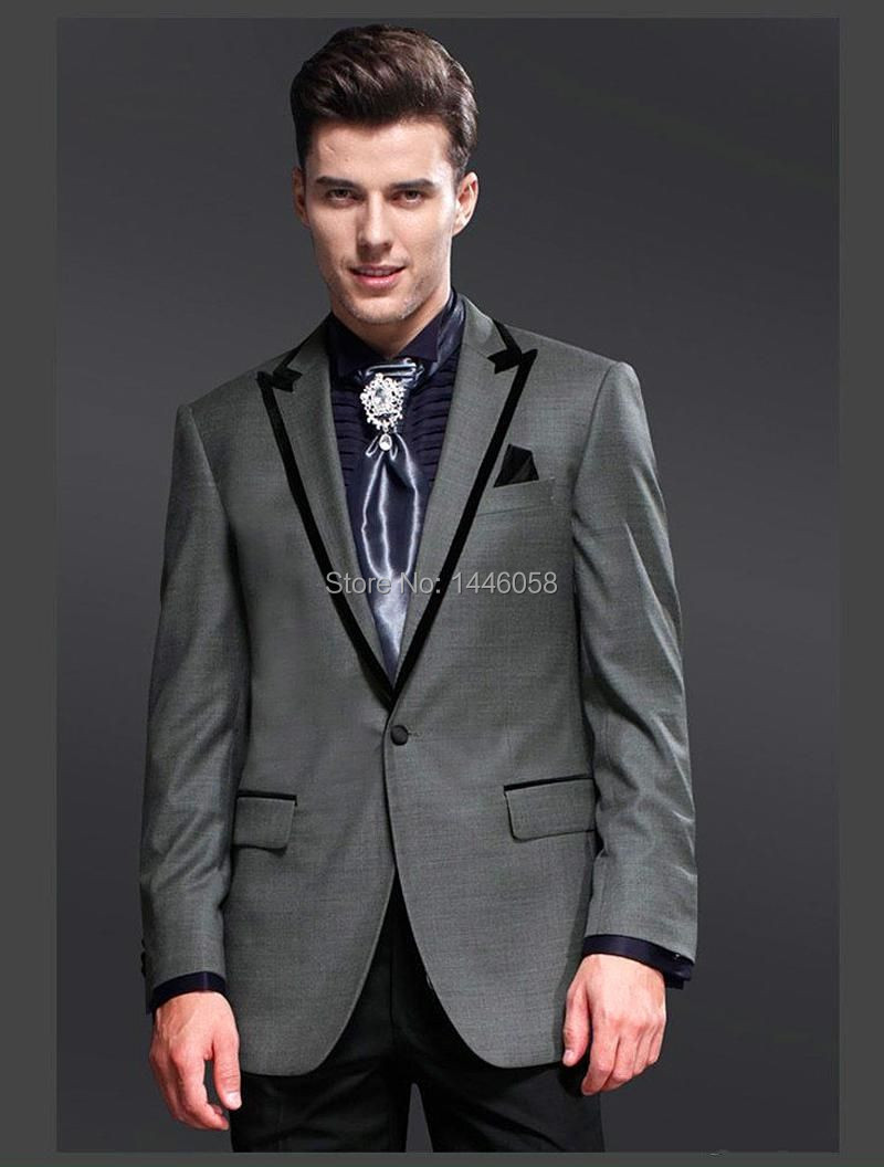 2016 New Style Business Suit One Button Groom Tuxedos Gray Best Man Suit Peaked Lapel Groomsman
