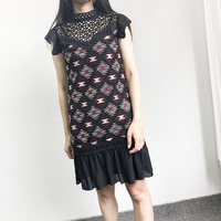 New 2018 new fall style stand collar heavy lace embroidery hollow out patchwork pleated women slim dress