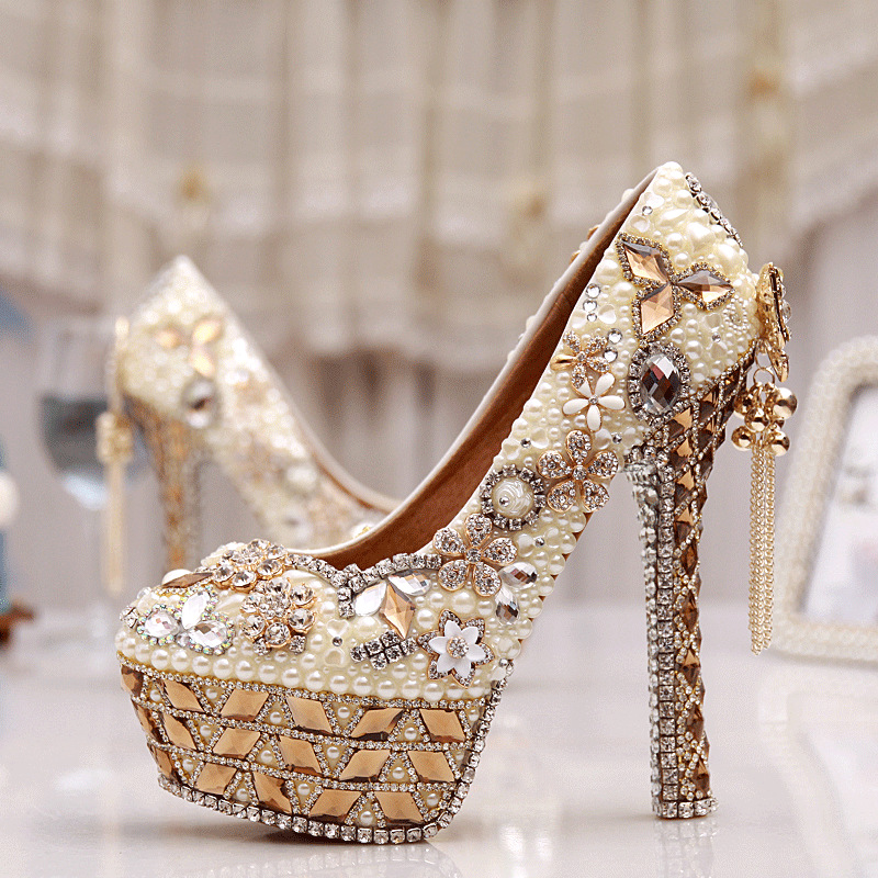 Gorgeous High Heel Crystal Wedding Shoes Lovely Pearl Gem Ivory White Prom Bridal Pumps Cinderella Crystal Shoes Size 34-43 fashion rhinestone super high heel bridal dress shoes white flower pearl crystal wedding shoes round toe wedding ceremony pumps