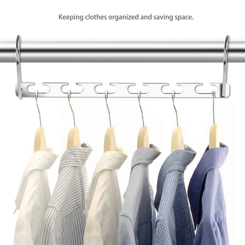 6pcs Wardrobe Closet Bar Clothes Coat Hanger Organizer Wonder Hanger Multifunctional Metal Cascading Organiser For Space Savin
