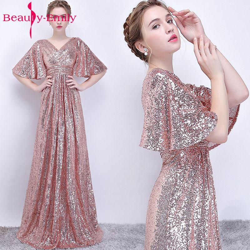 Beauty Emily Fashion Simple Long Evening Dresses 2018 A Line V Neck