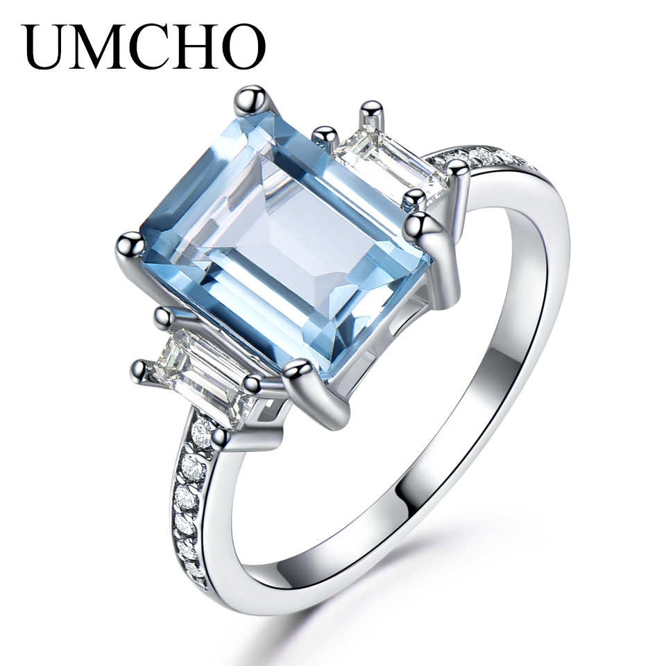 UMCHO 925 Sterling Silver Aquamarine Rings For Women Sky Blue Topaz Promise Princess Cut Gemstone Ring Fine Jewelry New